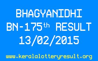 BHAGYANIDHI Lottery BN 175 Result 13-02-2015