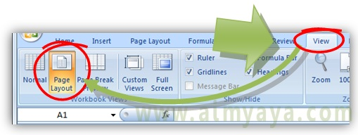 Gambar: cara merubah tampilan workbook menjadi page layout di microsoft excel