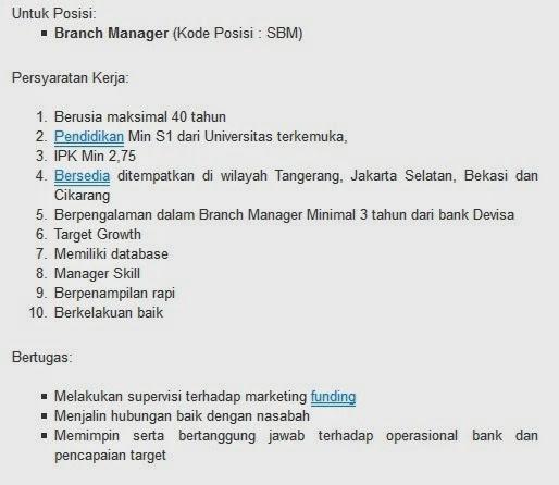 lowongan kerja bank mayora blora agustus 2014