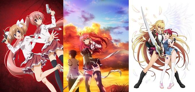 Hidan no Aria AA, Rakudai Kishi no Cavalry y Valkyrie Drive número de capítulos