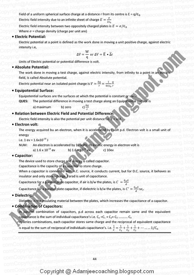 physics 12 electrostatics notes Cbse notes for class 12 physics – electric charges and fields cbse notescbse notes physicsncert solutions physics 1 electric charge charge is the property associated with matter due to which it produces and.