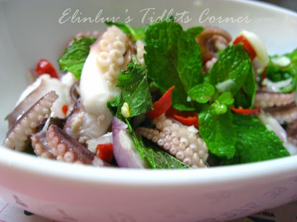 baby octopus salad with tangy hot mint dressing