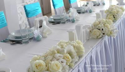 dekoracja sali weselnej w kolorze Tiffany Blue stół Młodej Pary