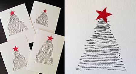 tarjeta de navidad con hilo