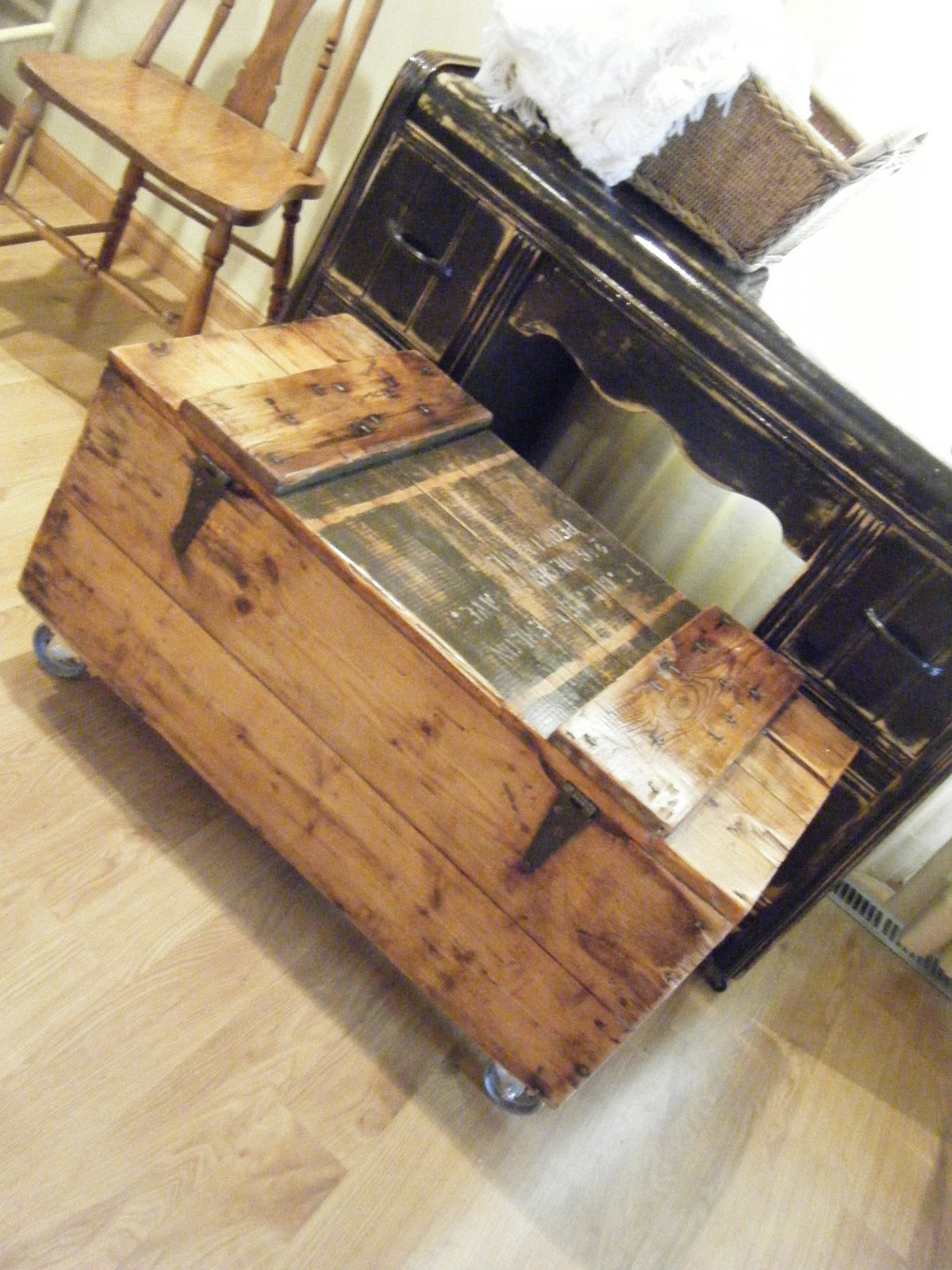 Tattered Lantern Rustic crate coffee table on casters $115 00 obo