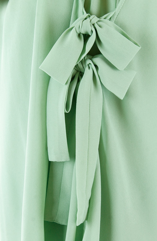 Pistachio Green Spring Ribbon Sleeveless Blouse