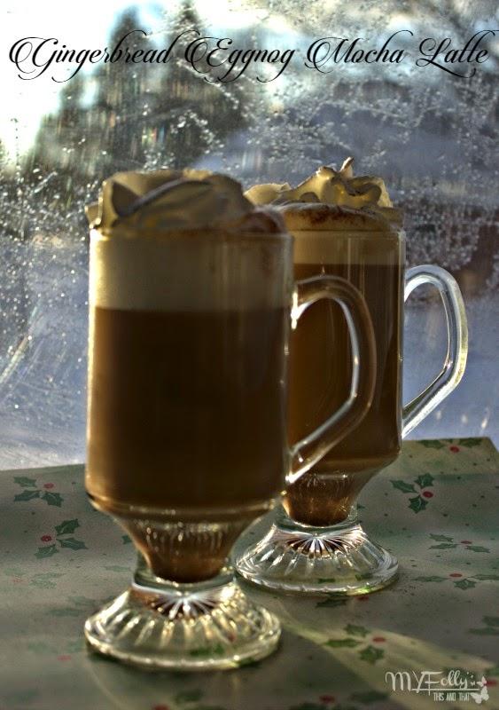Gingerbread Eggnog Mocha Latte/ This and That  eggnog, gingerbread syrup, chocolate, coffee @Torani @Hillsbroscapp