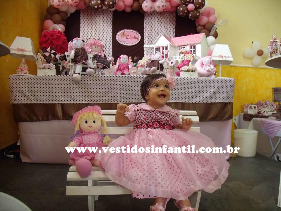 Vestido Para A Festa Infantil Marrom E Rosa