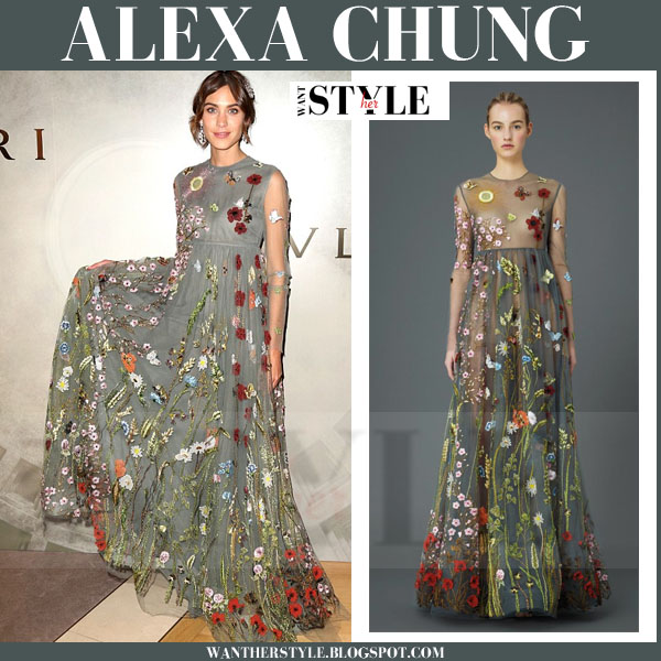 Alexa Chung in green floral embroidered Valentino gown what she wore red carpet
