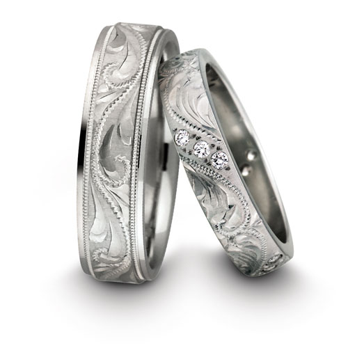 Some modern wedding rings containing precious stones other than diamond