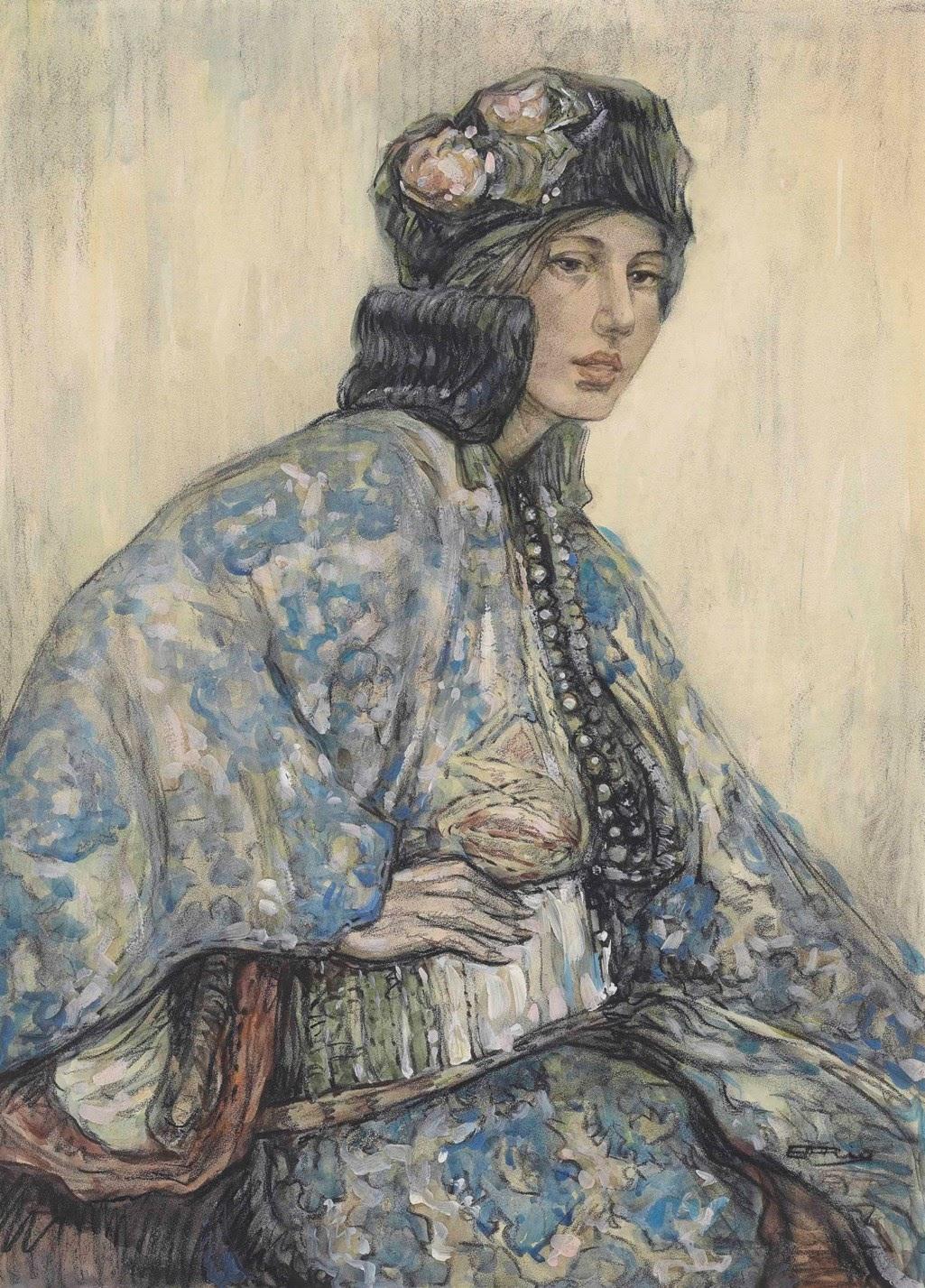 Hilda Rix Nicholas Portrait of a woman in oriental costume