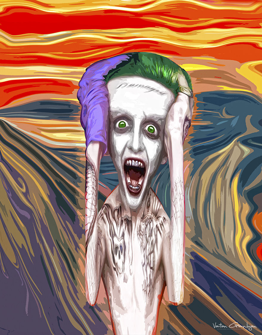02-The-Scream-Edvard-Munch-Vartan-Garnikyan-Works-of-Art-Paintings-Batman-and-Joker-Themed-www-designstack-co