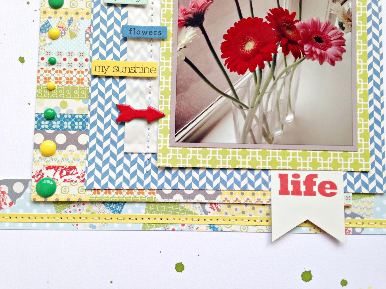 How to design scrapbook using colored paper - Paper Scrapbook June Color Challenge