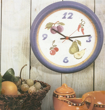 C mo hacer un reloj bordado en punto cruz - Reloj cocina diseno ...