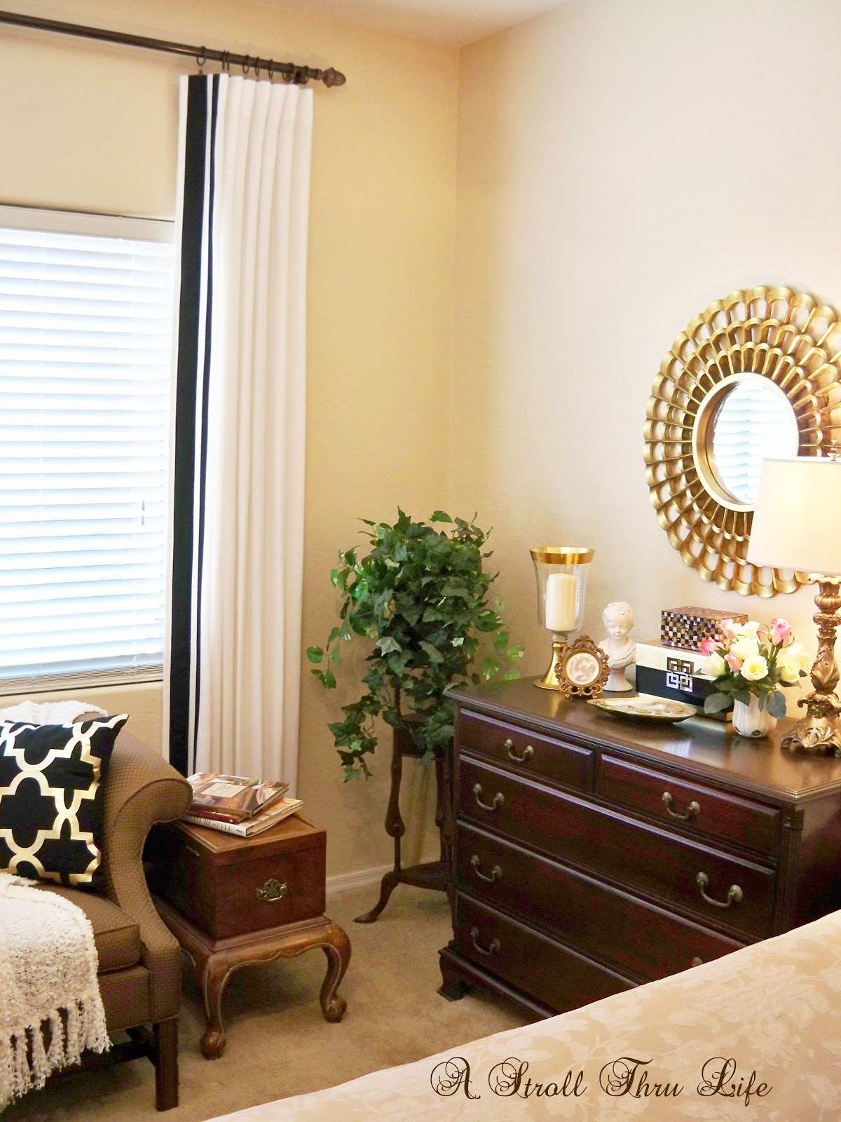 bedroom drapes. Adding Trim to Ready Made Drapes A Stroll Thru Life  Master Bedroom Are Done Tutorial