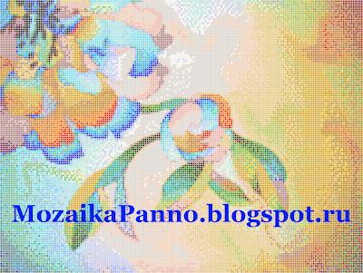 Картина из стеклянной мозаики  «Декоративный цветок»