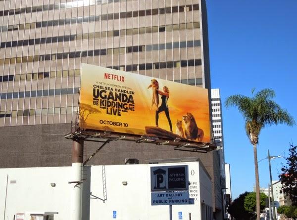 Chelsea Handler Uganda Be Kidding Me Lion King homage billboard