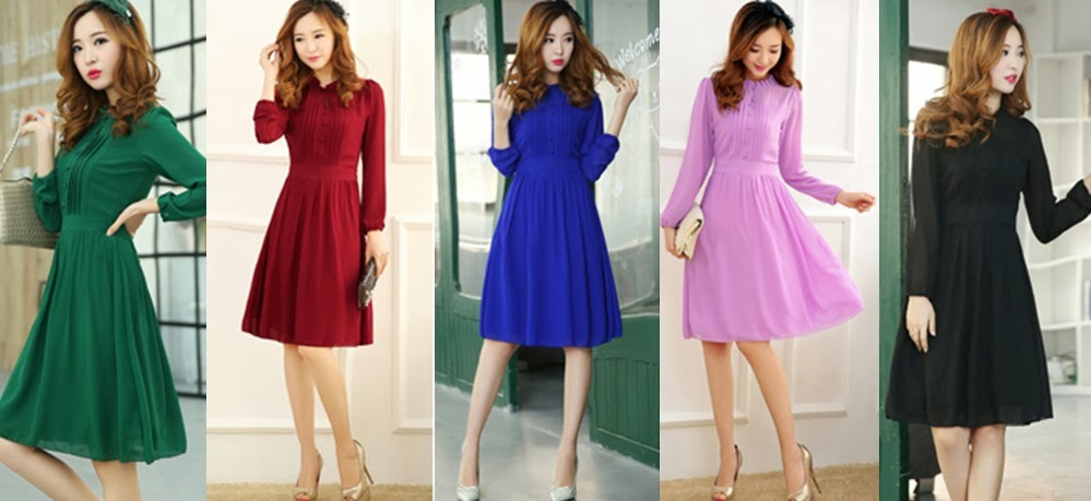 New Release 2014 Spring Long-Sleeved Chiffon Slim Knee Length Dress