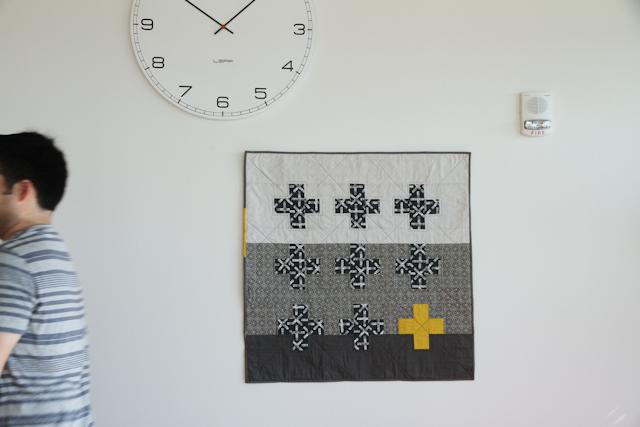 modern plus quilt with citron pop