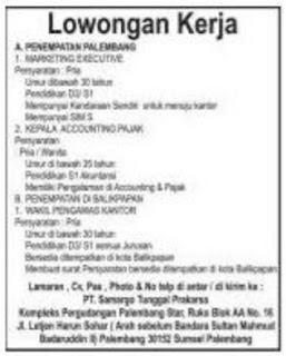 Lowongan Kerja PT Samargo Tunggal Prakasa Penempatan Palembang