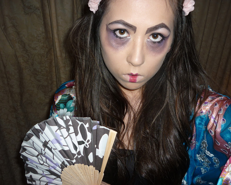 scary geisha halloween hair makeup costume tutorial