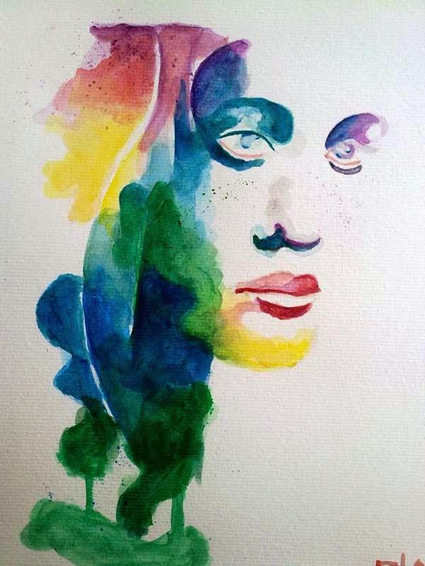 cara pintada con acrilico