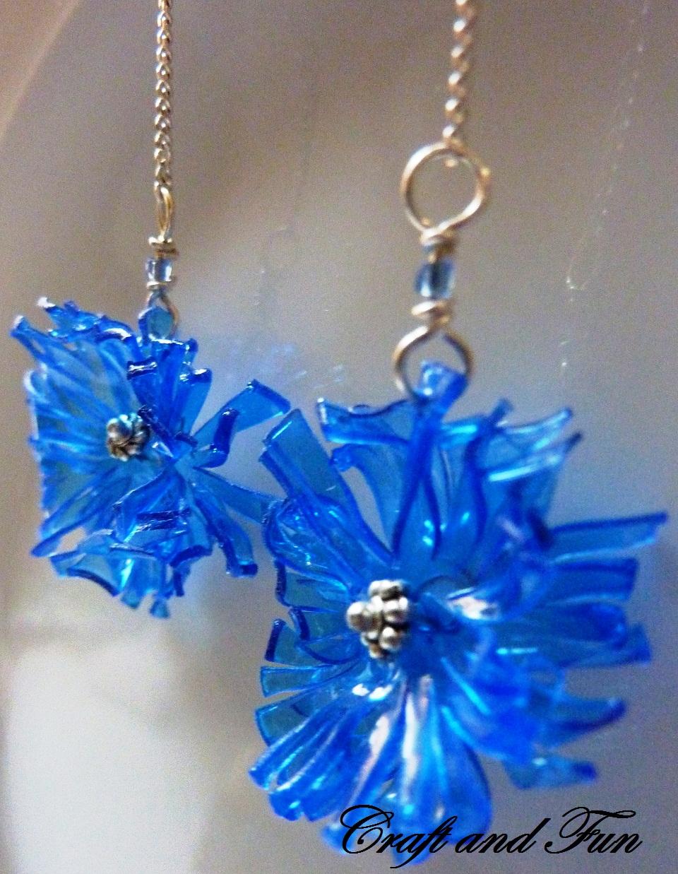 orecchini da riciclo creativo pet blu