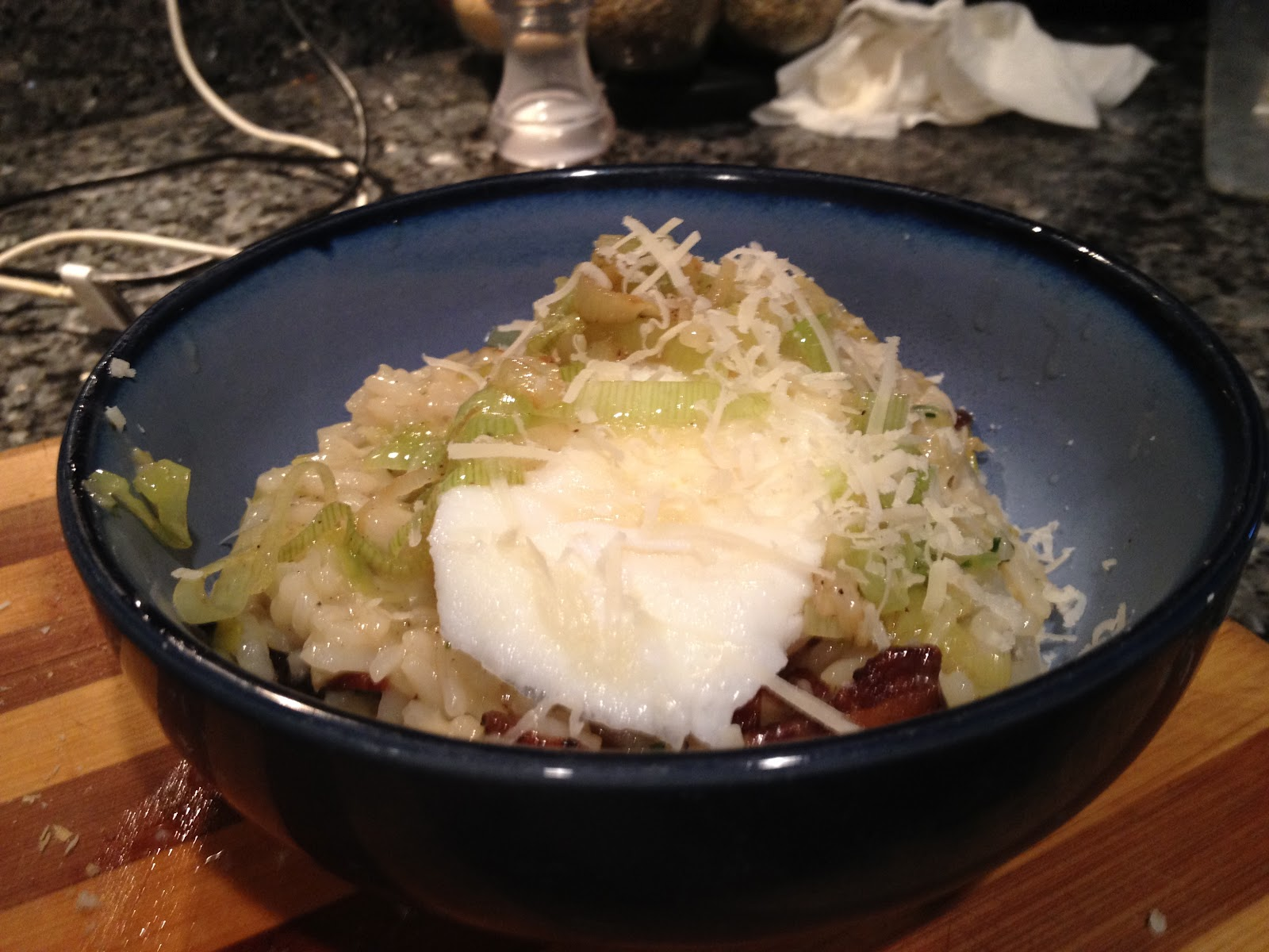 50 Shades of Eating: Bacon and Leek Risotto with Poached Egg