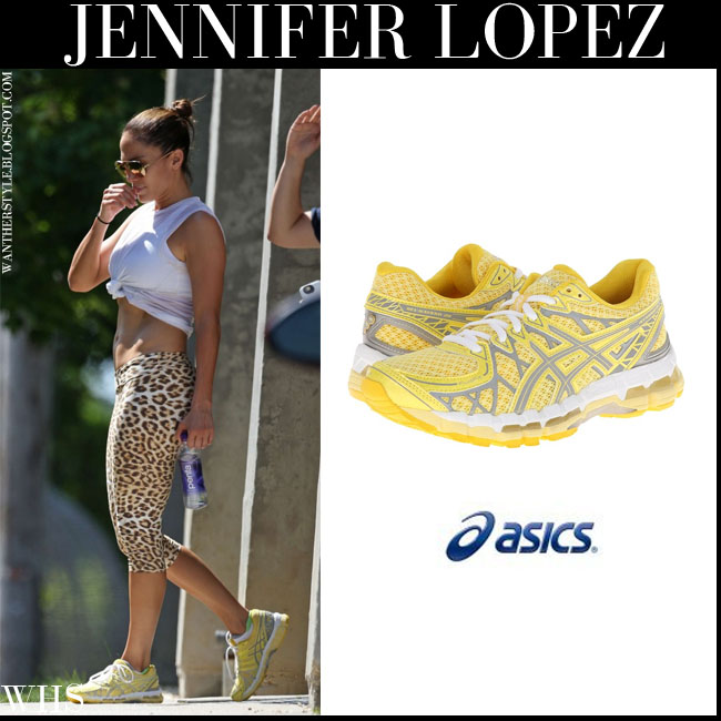 Jennifer Lopez in yellow Asics Gel Kayano 20 sneakers what she wore july 7