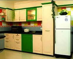 multi colour laminated kitchen with polished doors