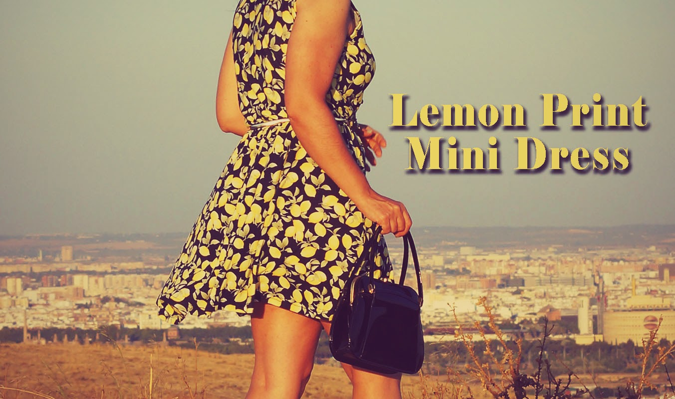 Lemon+print+Mini+Dress