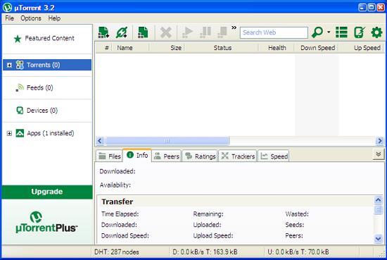 μTorrent uTorrent - a very tiny BitTorrent client