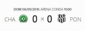 O placar de Chapecoense 0x0 Ponte Preta pela 23ª rodada do Brasileirão 2015