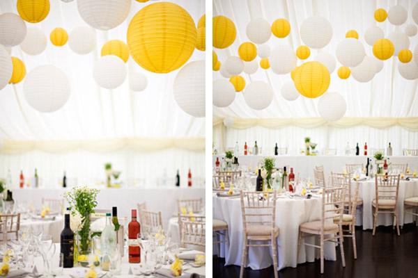 decoration salle mariage jaune et blanc