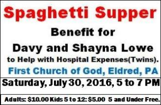 7-30 Lowe Benefit Spaghetti Supper