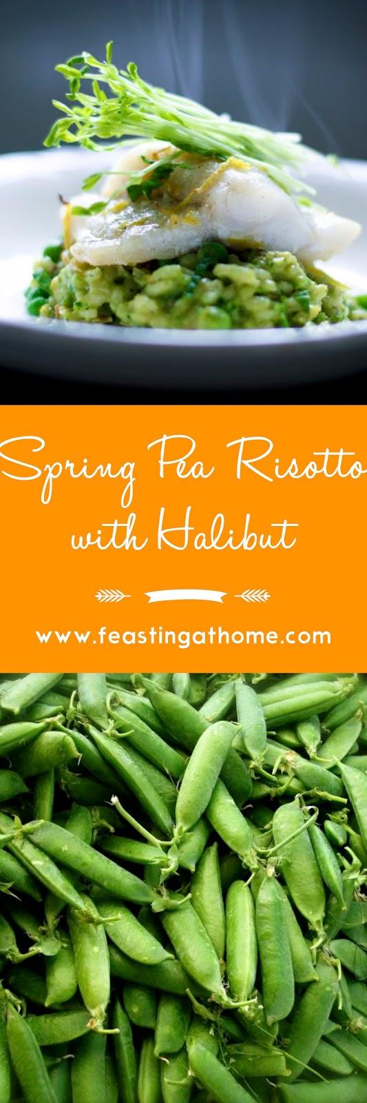 Spring Pea Risotto with Halibut | www.feastingathome.com