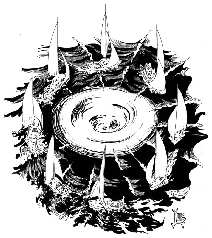 Michael's Scroll: Sailboat spinning around whirlpool / Voilier ...