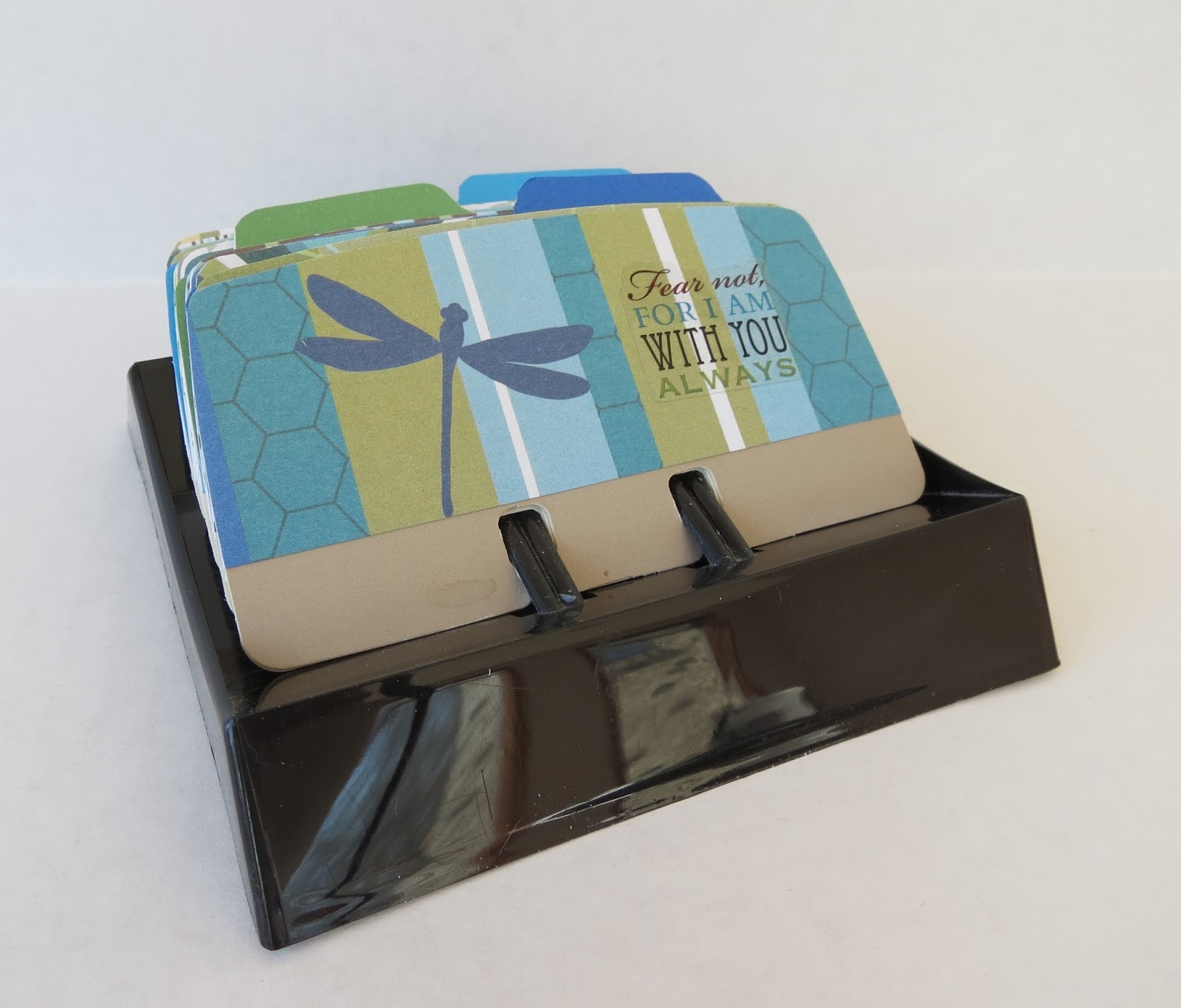 an upcycled rolodex into a scripture inspiration album