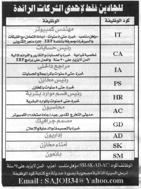 اعلانات وظائف خالية أهرام الجمعة