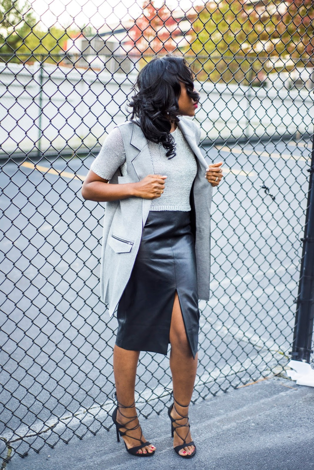 Fall fashion: Faux leather skirt