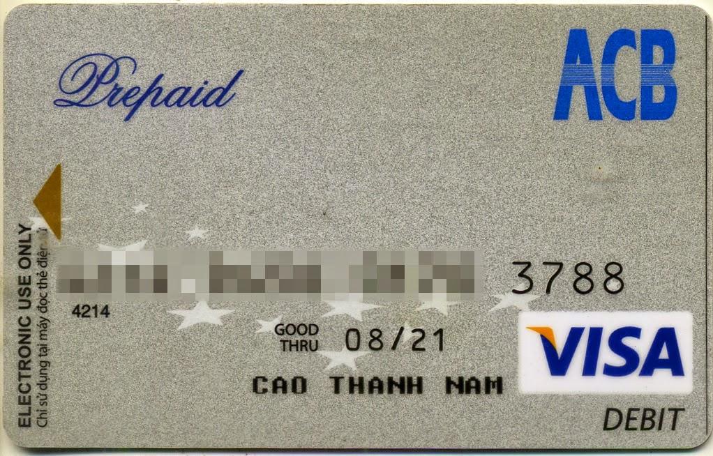 thẻ Visa chạy quảng cáo