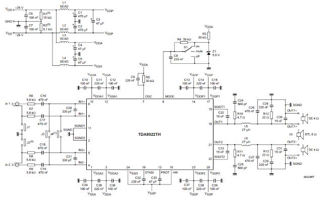 Circuit diagram TDA8922 Audio Amplifier 2 x 25W