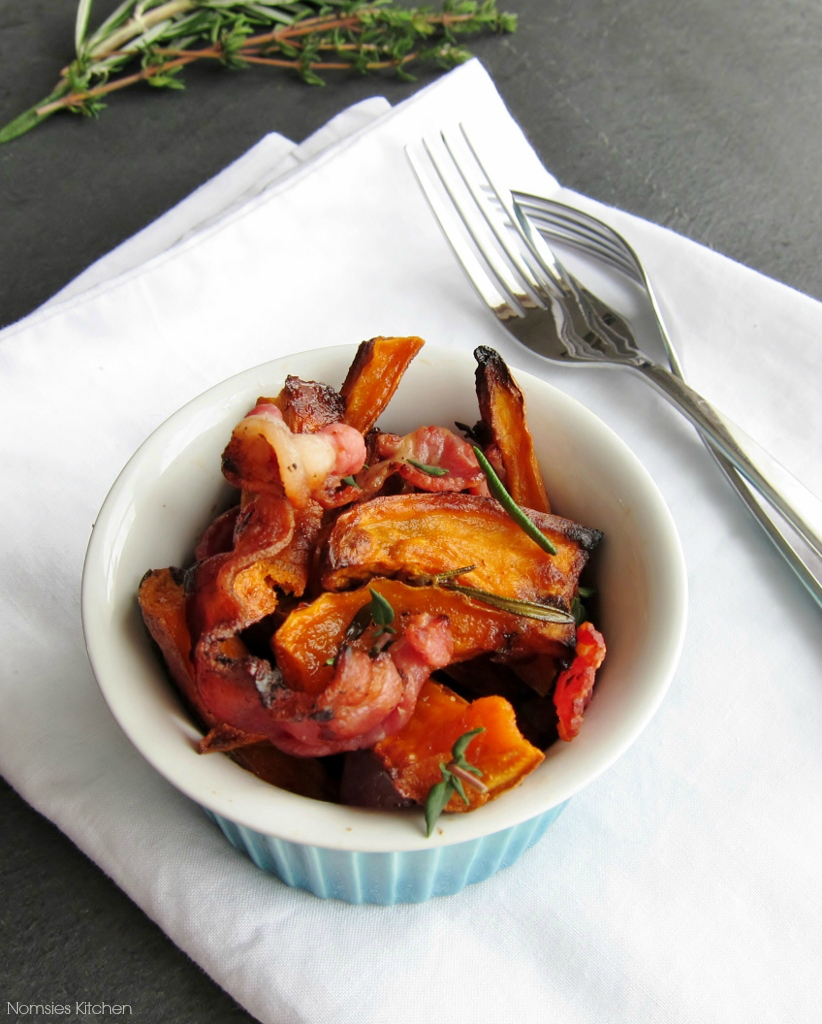 Maple Roasted Sweet Potato Fries with Bacon from Nomsies Kitchen
