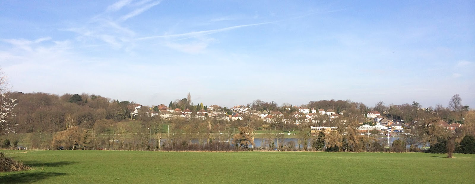The flooded Sparrow's Den rugby pitches seen from the steps of St John's Church, West Wickham.  6 March 2014.