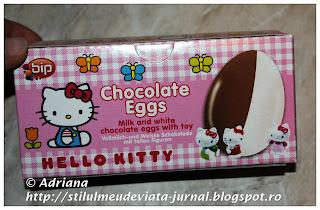 set 3 ouă de ciocolată cu figurine Hello Kitty
