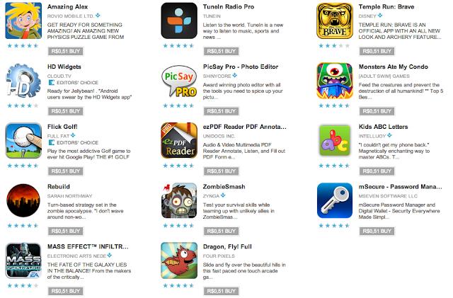 Aplicativos e games por apenas R$ 0,51