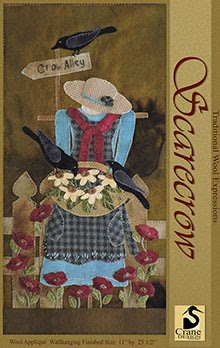 """Scarecrow Wool Applique Wallhanging 11"""" x 25.5'"""