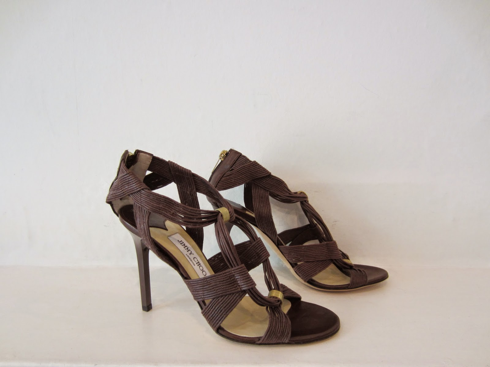 Jimmy Choo Brown Leather Strappy Sandals