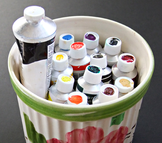 Container of tube paints all color coordinated to save time hunting for the perfect color