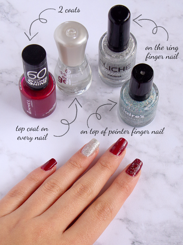 Nail Tutorial for Autumn - Burgundy Glitter Nails on Riana